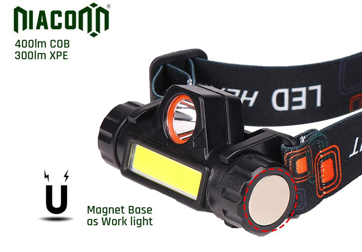 8 Watt Power Waterproof Rechargeable Headlamp Magnet Base 1500mAh Battery